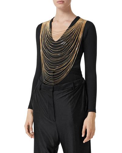 Golden Chain-Neck Jersey Bodysuit