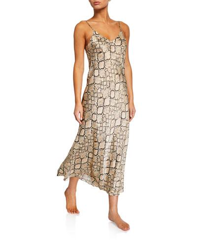 Python Snake-Print Silk Nightgown