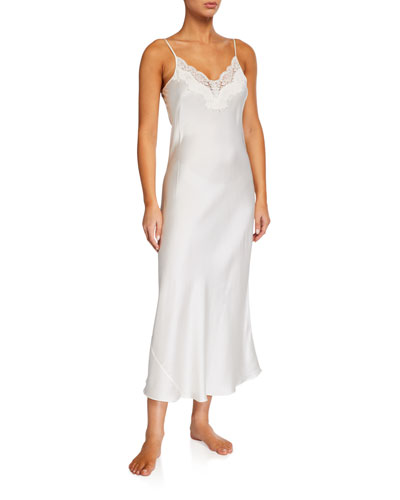 Lace-Trim Silk Nightgown