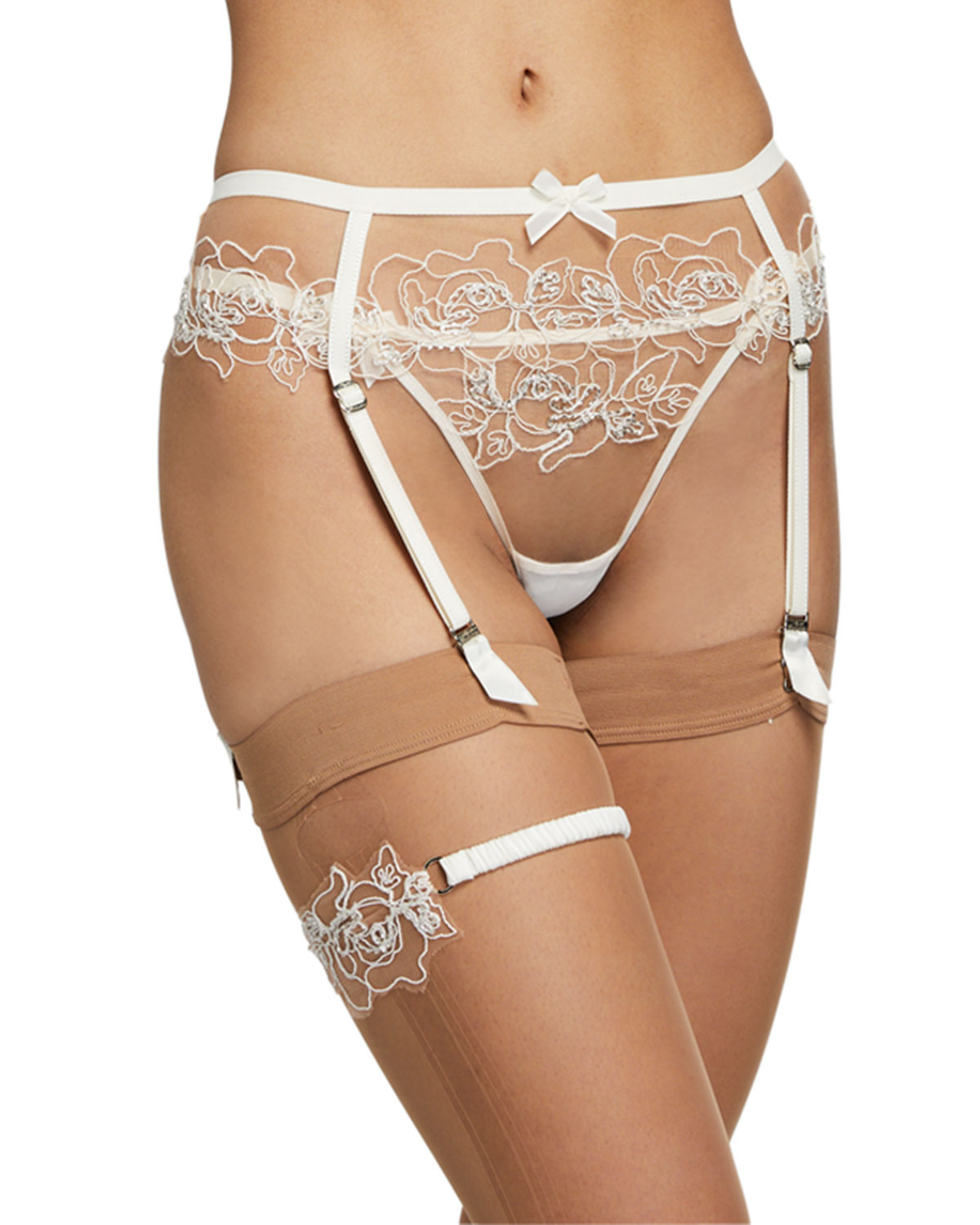 Agent Provocateur LINDIE FLORAL-EMBROIDERED GARTER BELT