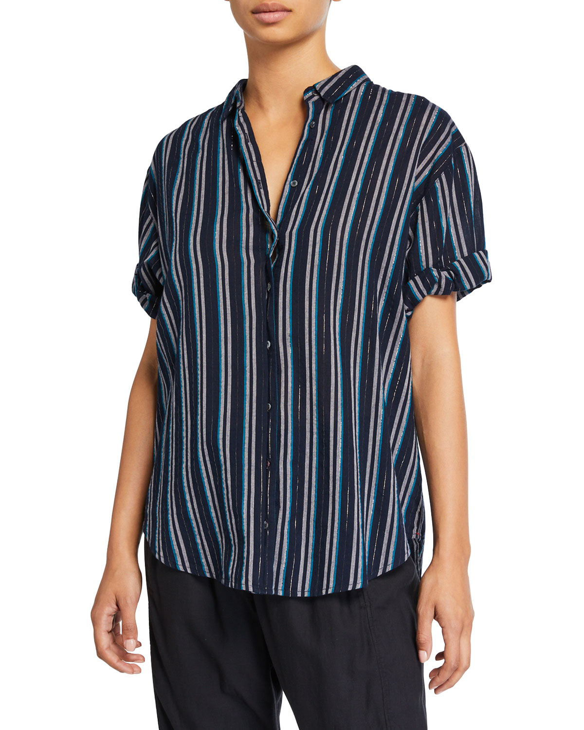 Xirena T-shirts CHANNING STRIPED POPLIN SHIRT
