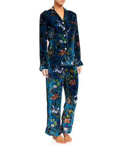 Lila Torment Velvet Classic Pajama Set
