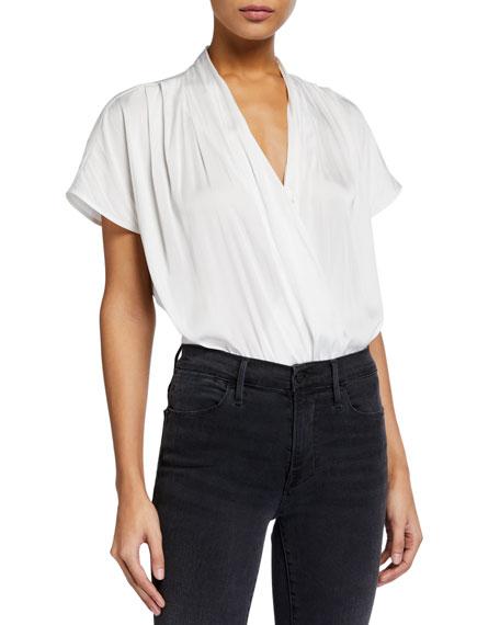 PAIGE Dijon Short-Sleeve Surplice Bodysuit