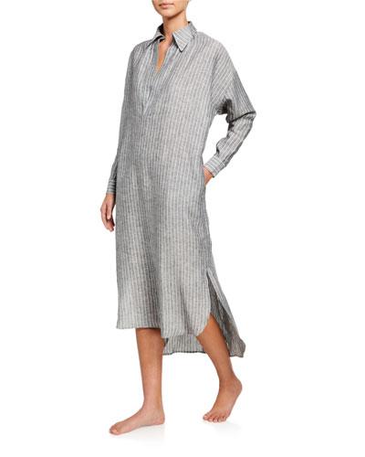 Juliet Pinstripe Long Linen Nightdress