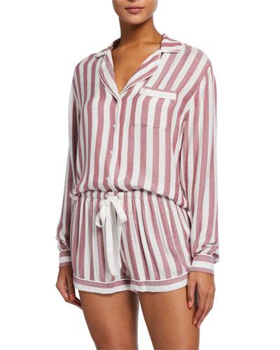 Kellen Striped Long-Sleeve Shortie Pajama Set