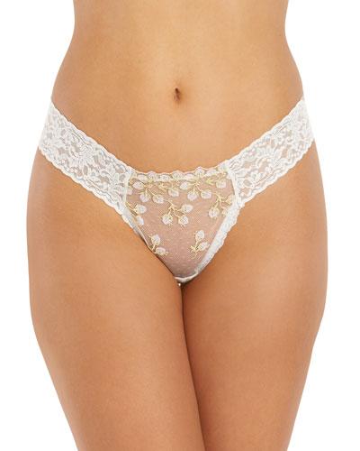 Floret Lace Low-Rise Diamond Thong