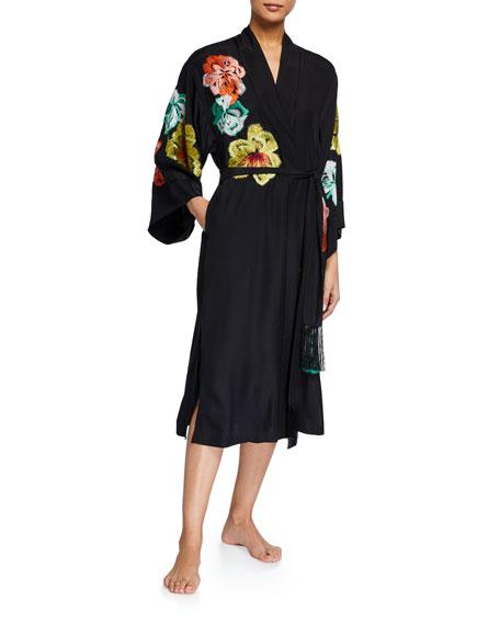 Josie Natori Yoko Embroidered Silk Robe