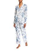 Desmond & Dempsey Parrot Printed Cotton Long Pajama