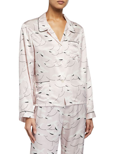 Ruthie Graphic Silk-Blend Pajama Top