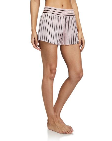 Morgan Lane Margo Striped Charmeuse Shorts