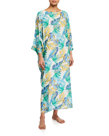 Diamond Tea Gown Floral-Print Chiffon Caftan