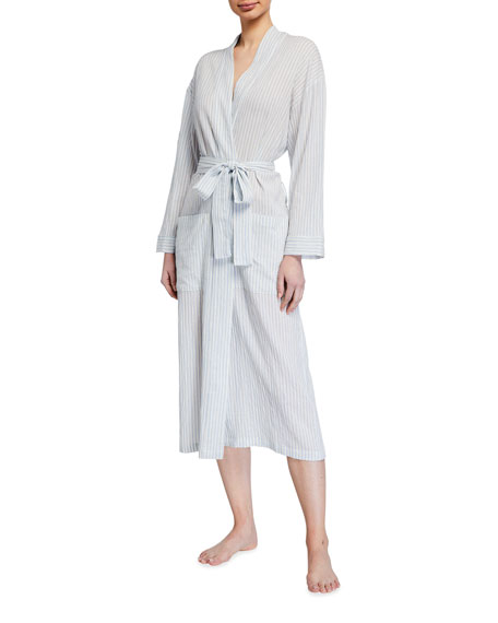 Pour Les Femmes Organic Japanese Cotton Striped Long Robe