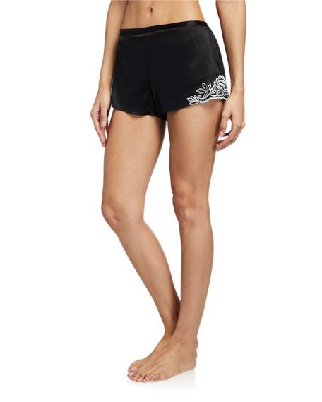 Josie Natori Ava Lace-Trim Silk Tap Shorts