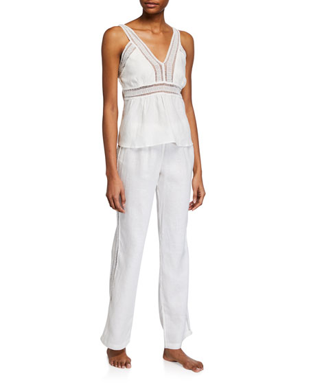 The Lazy Poet Gaby Lace-Trim Pajama Set