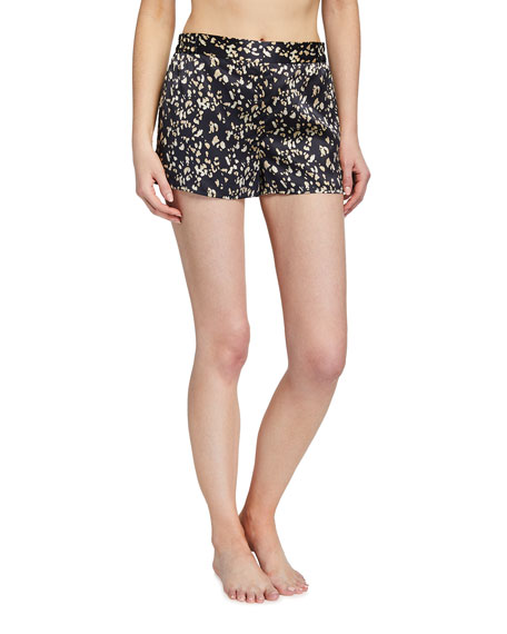 Ginia Leopard-Print Silk Sleep Shorts