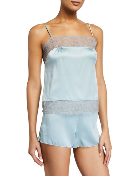 Samantha Chang Lace-Trim Silk Charmeuse Camisole