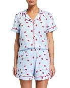 BedHead Pajamas Ladybug Striped Shorty Pajama Set