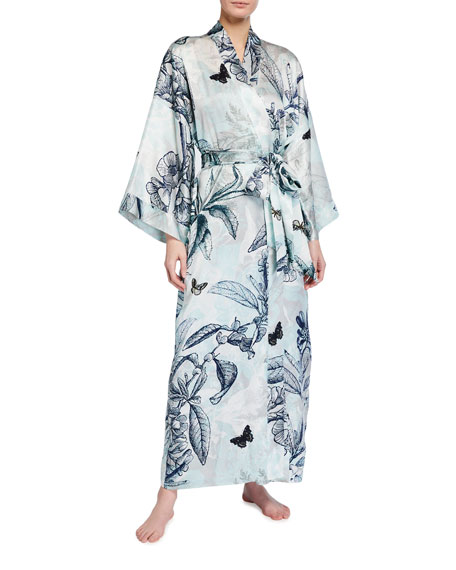 Christine Lingerie Botanical Print Long Silk Robe