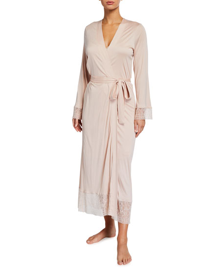 Hanro Imani Lace-Trim Long Robe