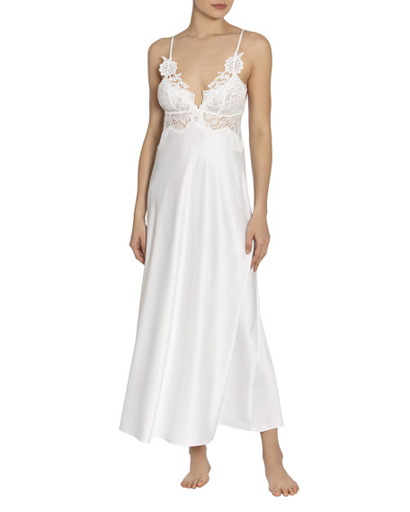 Jonquil Caterina Lace-Trim Matte Satin Nightgown
