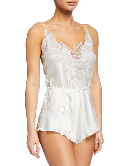 Christine Lingerie Lace-Trim Teddy Romper