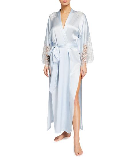 Christine Lingerie Silk Charmeuse Lace-Sleeve Long Robe