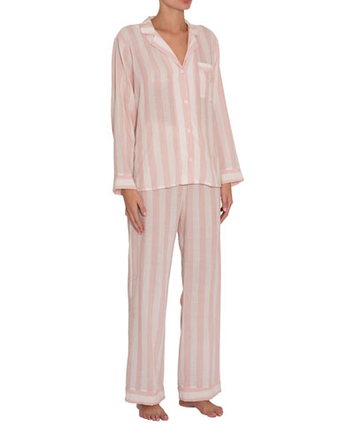 Umbrella Stripes Woven Long Pajama Set