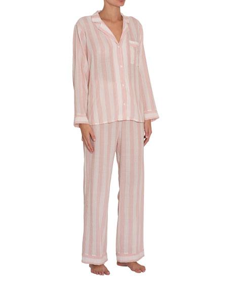 Eberjey Umbrella Stripes Woven Long Pajama Set