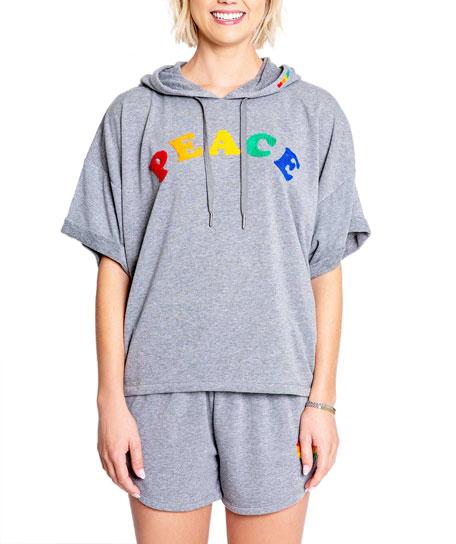 PJ Salvage Peace Short-Sleeve Hooded Sweatshirt