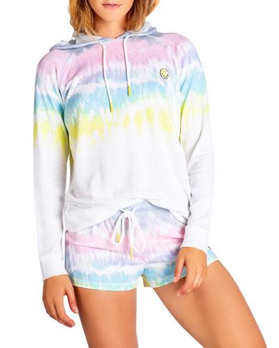 Smiley Tie Dyed Hooded Sweatshirt