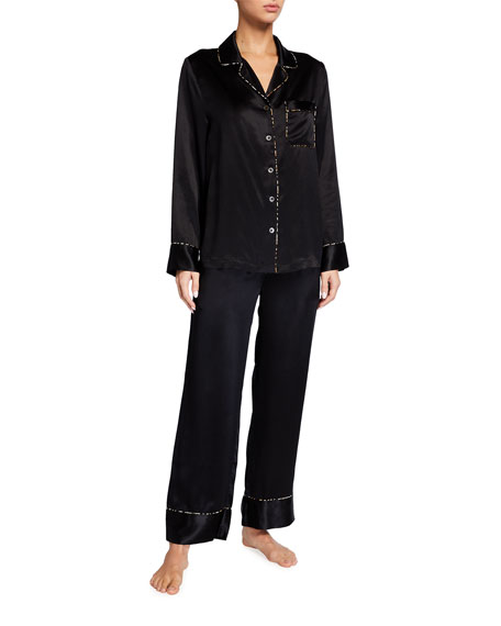 Neiman Marcus Leopard Trim Silk Pajama Set