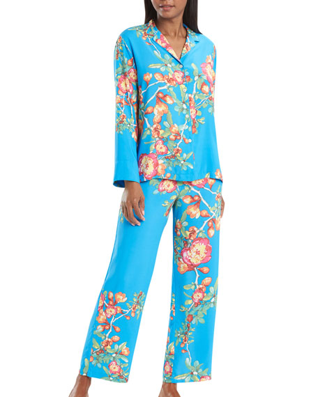 Natori Cyprus Floral Print Notch-Collar Classic Pajama Set