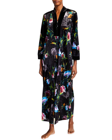 Diamond Tea Gown Velvet Floral Print Zip-Front Caftan