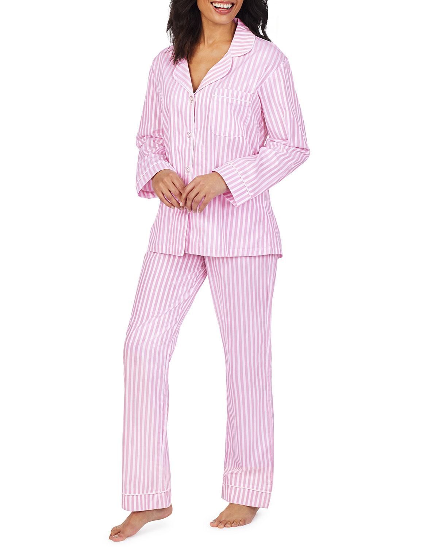 3D Striped Cotton Long-Sleeve Classic Pajama Set