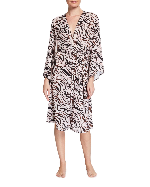 Jane Zebra-Print Coverup Crepe Kimono