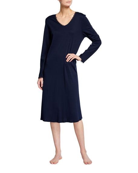 Hanro Bea Lace-Trim Long-Sleeve Nightgown