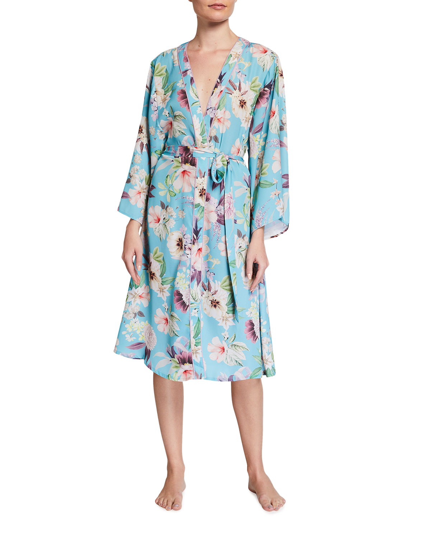 Jane Floral-Print Crepe Coverup Kimono