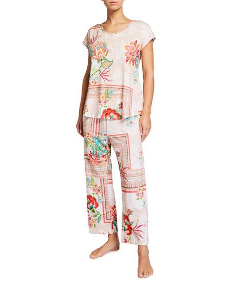 Johnny Was Rose Cap-Sleeve Crop Pajama Set