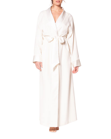 Christine Lingerie Silk Waffle-Knit Long Robe with Satin Trim