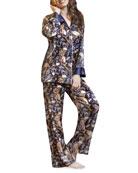 Christine Lingerie Darwin Printed Silk Classic Long-Sleeve Pajama