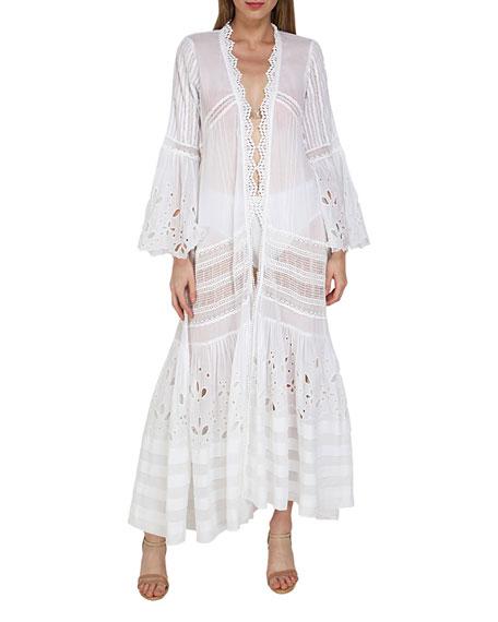 Flora Bella Jewel Embroidered Long Coverup Kimono
