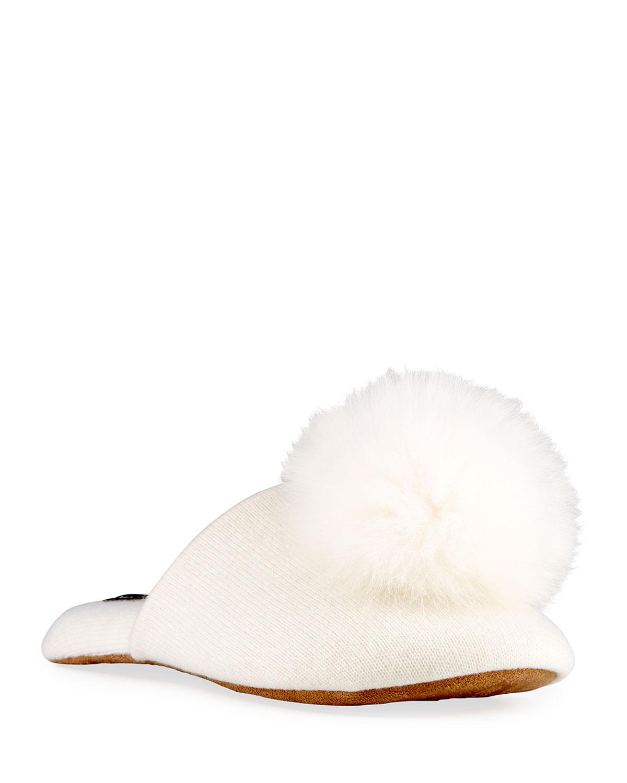 Cashmere Fox Fur-Trim Slippers