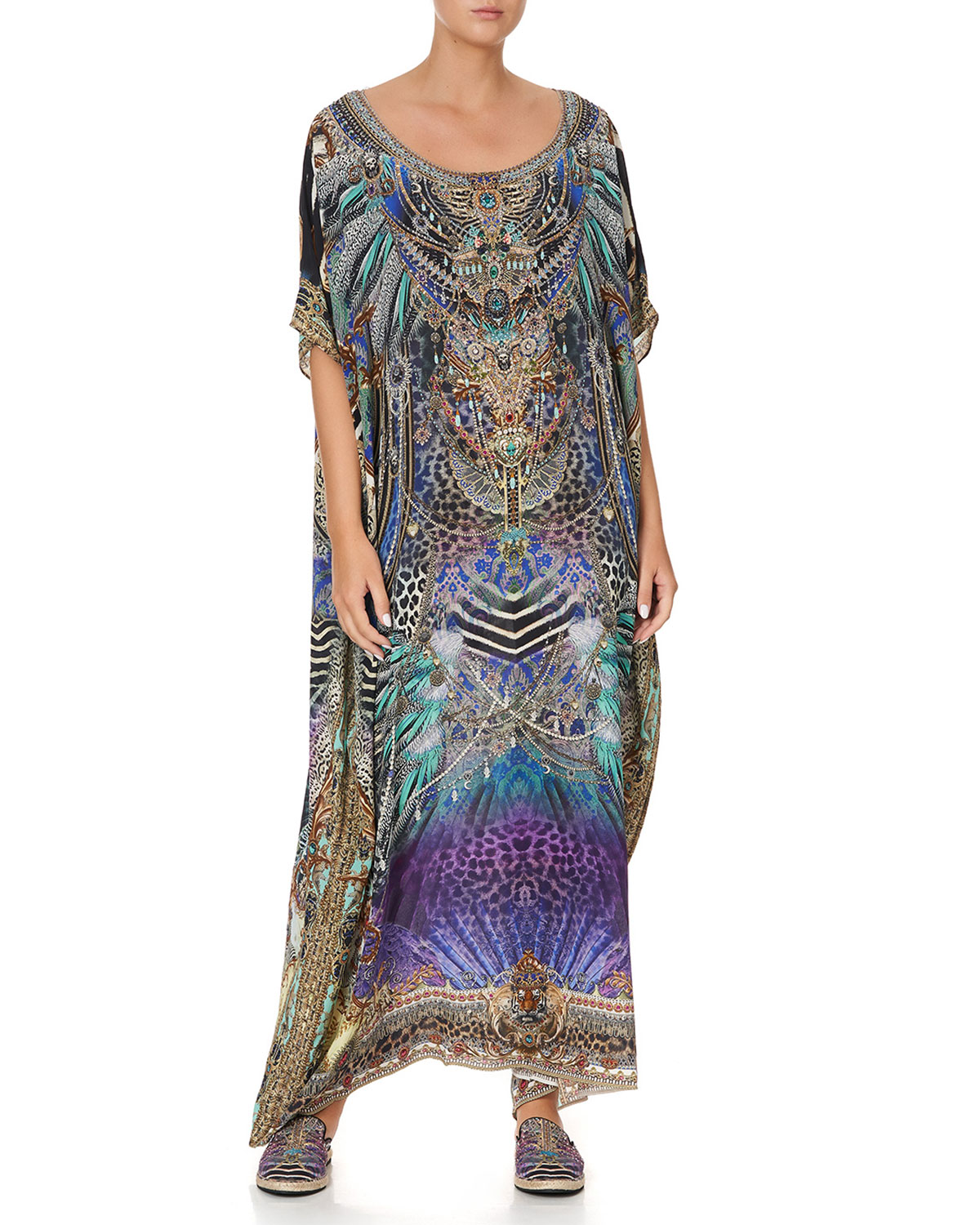 Scoop-Neck Abstract-Print Coverup Kaftan