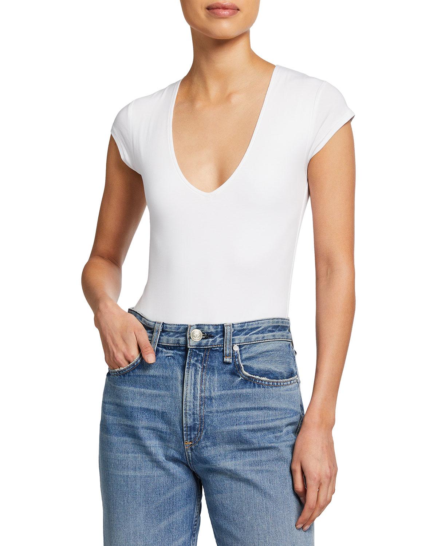 Pima Cotton Deep V-Neck Bodysuit