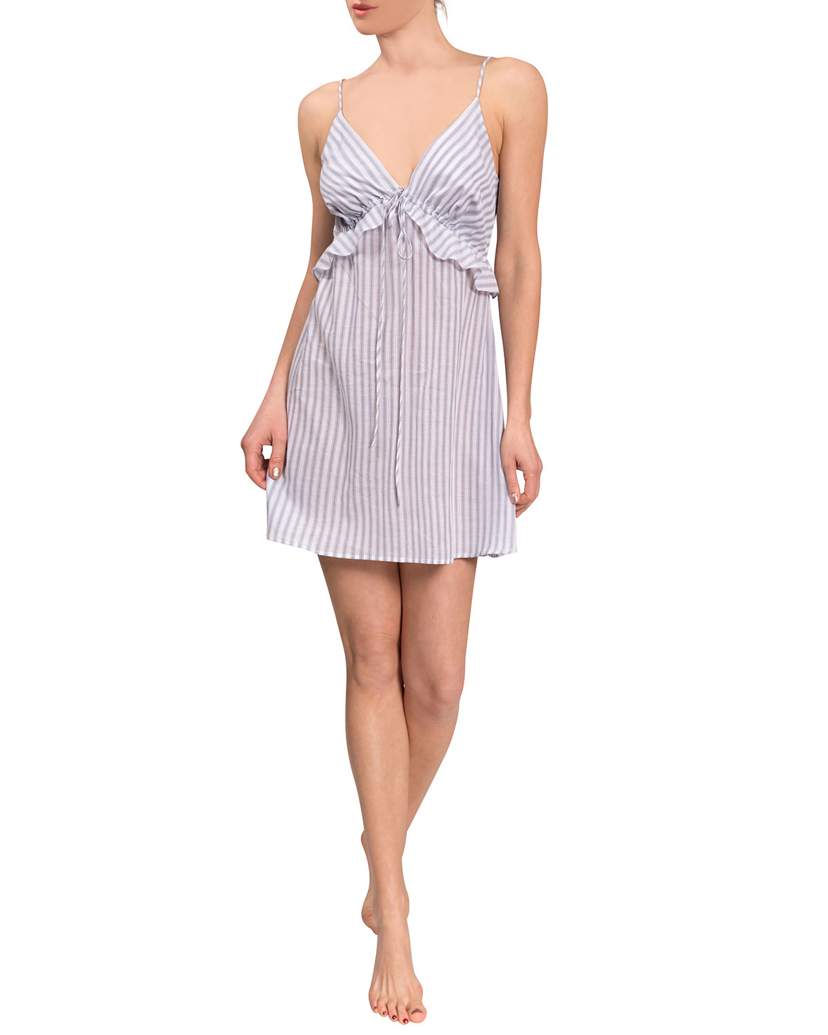 Isabelle Striped Ruffle-Trim Short Nightgown