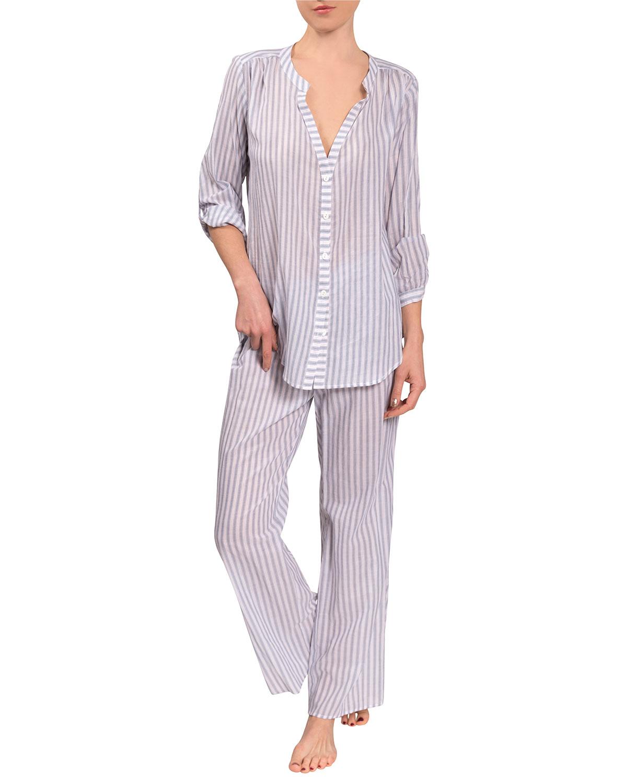 Jamie Angela Striped Cotton Pajama Set