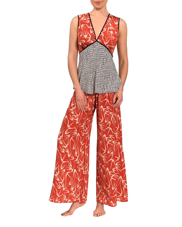 Isla Emily Open-Back Wide-Leg Pajama Set
