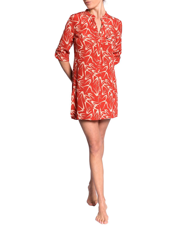 Claudine Bird-Print Tunic Top