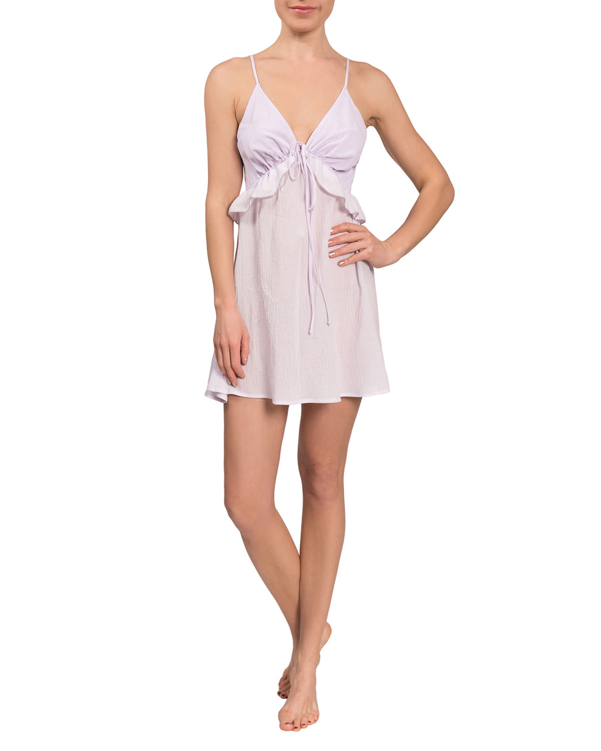 Isabelle Ruffle-Trim Short Nightgown