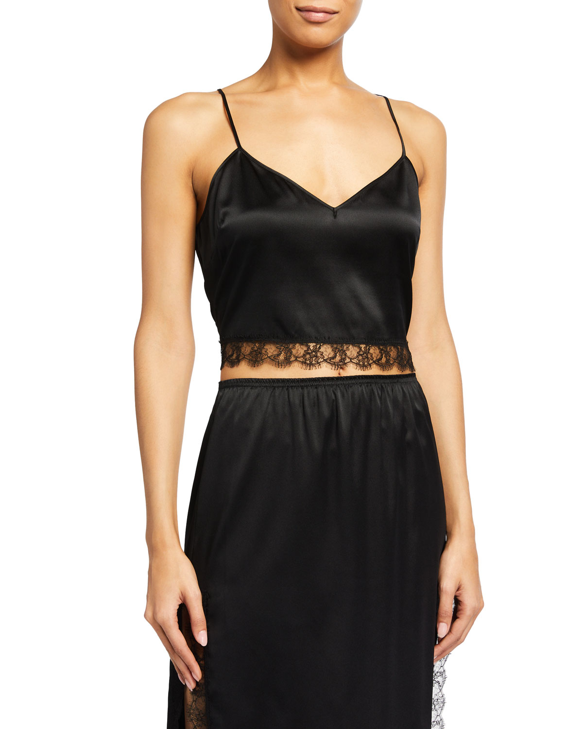 Lace-Inset Cropped Satin Cami